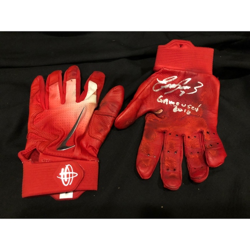 "Photo of Eugenio Suarez -- Autographed Batting Gloves -- Inscribed as ""Game Used 2018"""