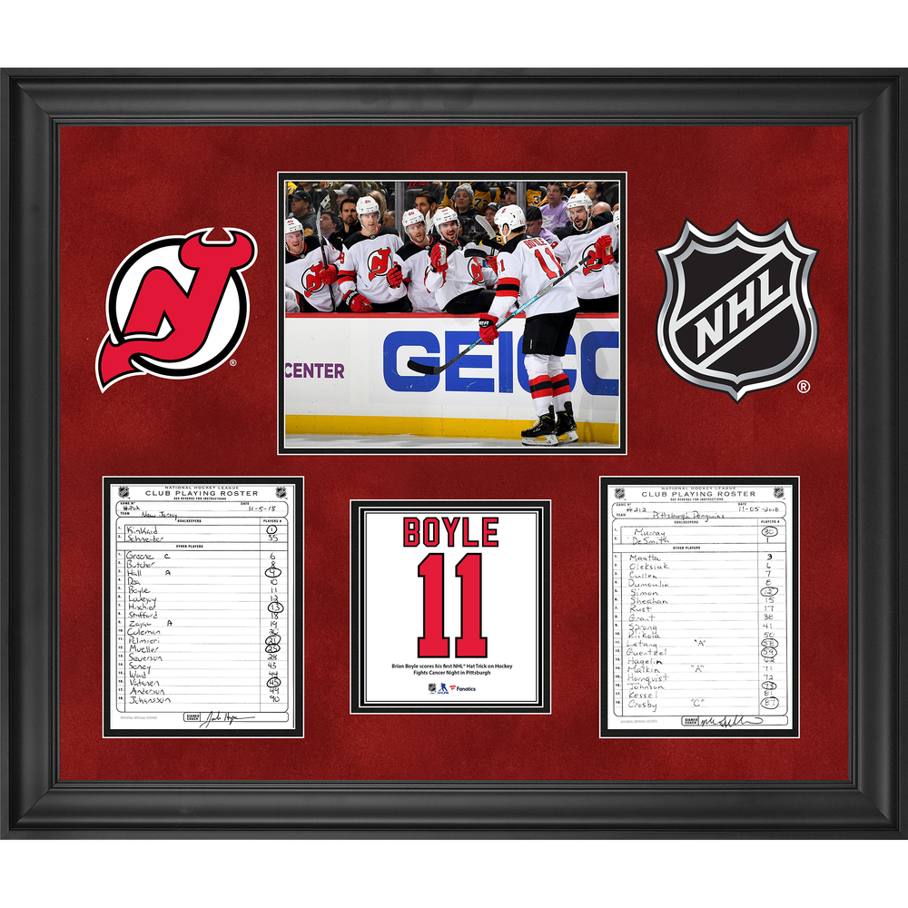 New Jersey Devils Framed Original Line-Up Cards from November 5, 2018 vs. Pittsburgh Penguins - Brian Boyle First Career Hat Trick (HFC Day in Pittsburgh)