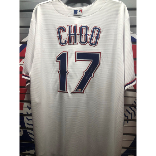 Photo of Shin-Soo Choo White Replica Autographed Jersey