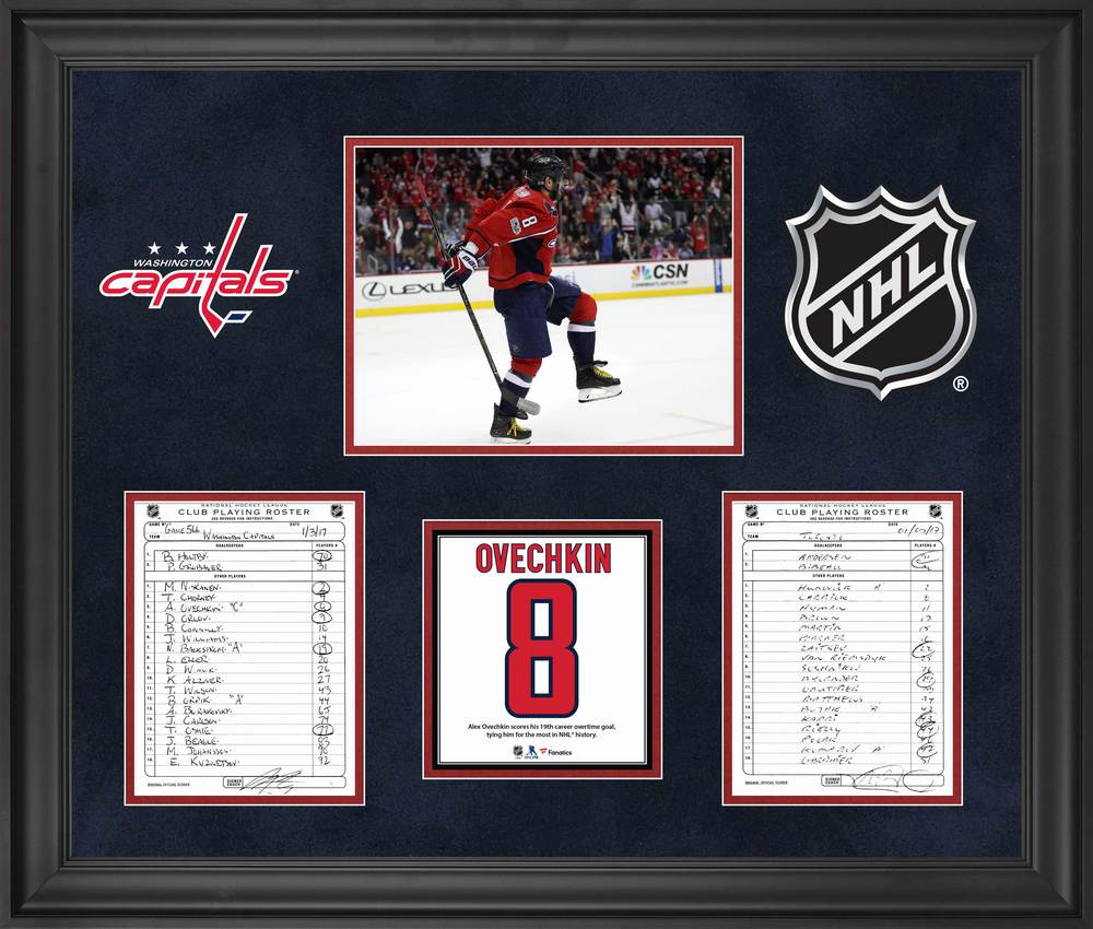 Washington Capitals Framed Original Line-Up Cards from January 3, 2017 vs. Toronto Maple Leafs - Alex Ovechkin Ties NHL Record for Overtime Goals
