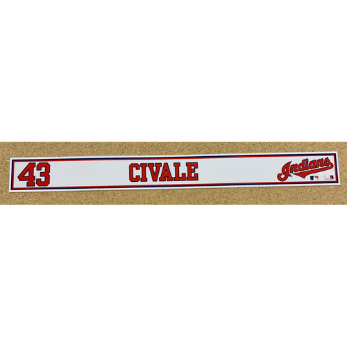 Photo of Aaron Civale 2020 Spring Training Game-Used Locker Name Plate