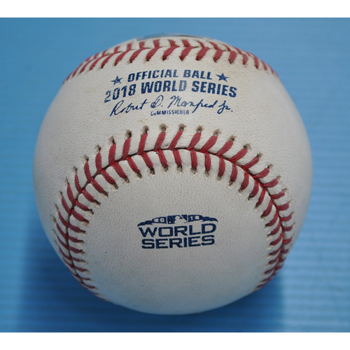Photo of Game-Used Baseball - 2018 World Series - Boston Red Sox at Los Angeles Dodgers - Pitcher - Alex Wood, Batter - Andrew Benintendi - Single - Top 9 - Game 4 - 10/27/2018