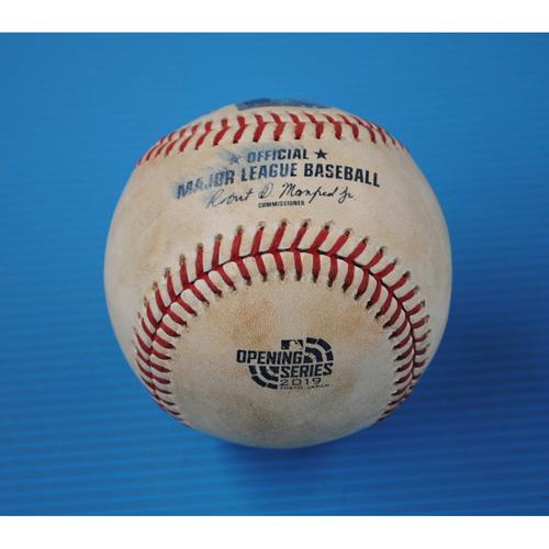 Game-Used Baseball - 2019 Japan Series - 3/21/2019 - Seattle Mariners vs. Oakland Athletics - Bot 3 - Pitcher: Yusei Kikuchi, Batter: Marcus Semien - Pop Out to 2B Dee Gordon