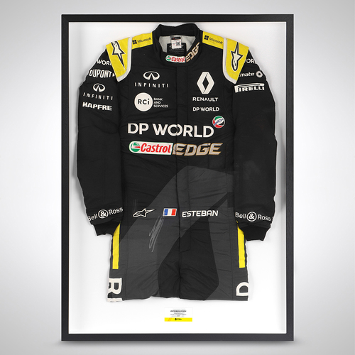 Photo of Esteban Ocon 2020 Framed Signed Race-worn Race Suit - Russian Grand Prix