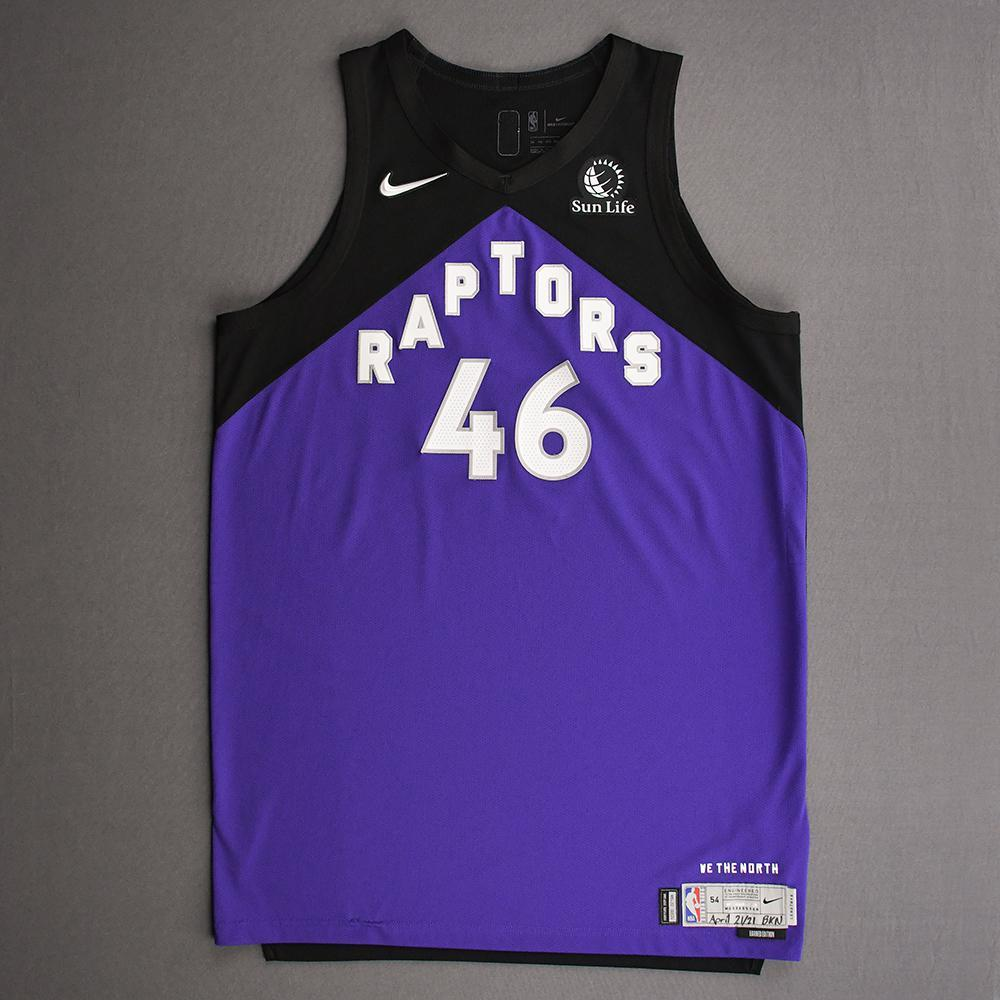 Aron Baynes - Toronto Raptors - Game-Worn Earned Edition Jersey - Dressed, Did Not Play (DNP) - 2020-21 NBA Season
