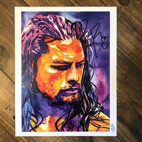 Photo of Roman Reigns SIGNED Rob Schamberger 11 x 14 Art Print (Justice)