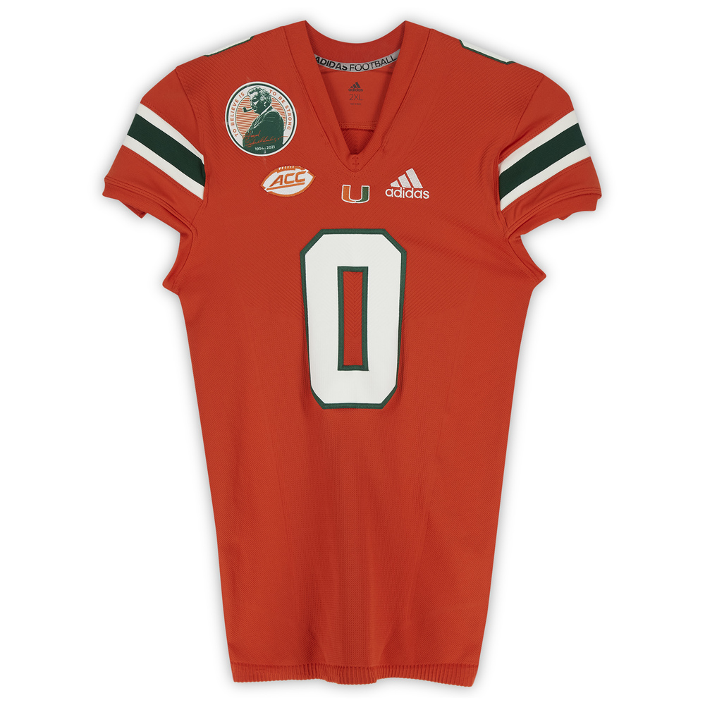 #0 Miami Hurricanes Team-Issued adidas Primeknit Jersey with Howard Schnellenberger Patch vs. Virginia Cavaliers September 30, 2021 - Size 2XL