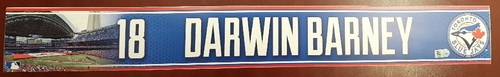 Authenticated Game Used Locker Name Plate - #18 Darwin Barney (2015 Season)