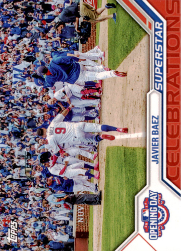 Photo of 2017 Topps Opening Day Superstar Celebrations #SC3 Javier Baez -- NLCS roster