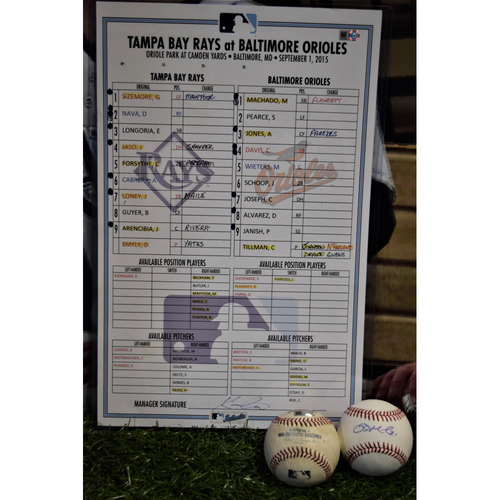 Photo of Line Up Card - September 1, 2015 - Rays at Orioles - Luke Maile MLB Debut