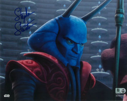 Stephen Stanton as M as Amedda 8x10 Autographed in Blue Ink Photo
