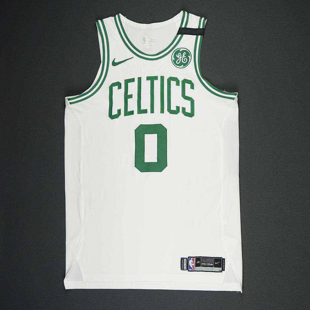Jayson Tatum - Boston Celtics - 2018 NBA Playoffs Game-Worn Jersey - Double-Double - NBA Playoffs Debut