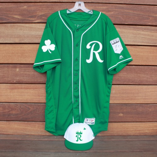 Photo of Team-Issued Saint Patrick's Day Jersey and Game-Used Cap: Frank Schwindel (Jersey Size 48 - Cap Size 7)