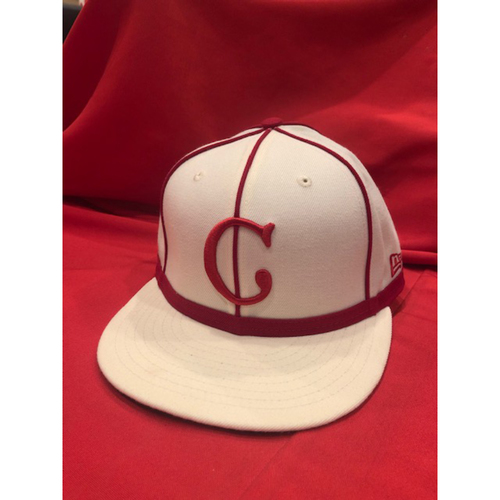 Photo of Cody Reed -- 1902 Throwback Cap -- Game Used -- SF @ CIN on May 4, 2019