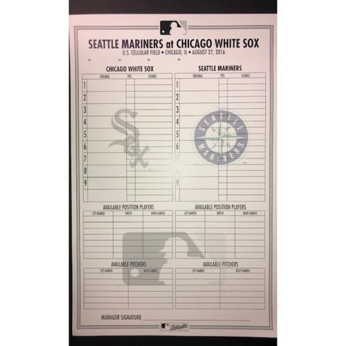 Photo of 2019 Chicago White Sox Game-Used Lineup Card (September) - Choose your Game Date!