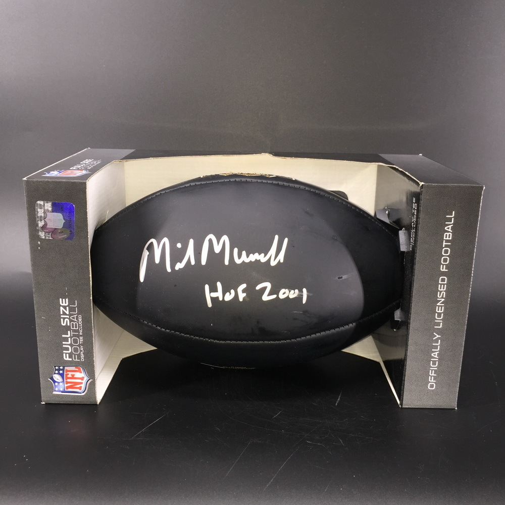 HOF - Oilers Mike Munchak Signed NFL Auction Exclusive Commemorative Hall of Fame Football W/ 100 Seasons Logo