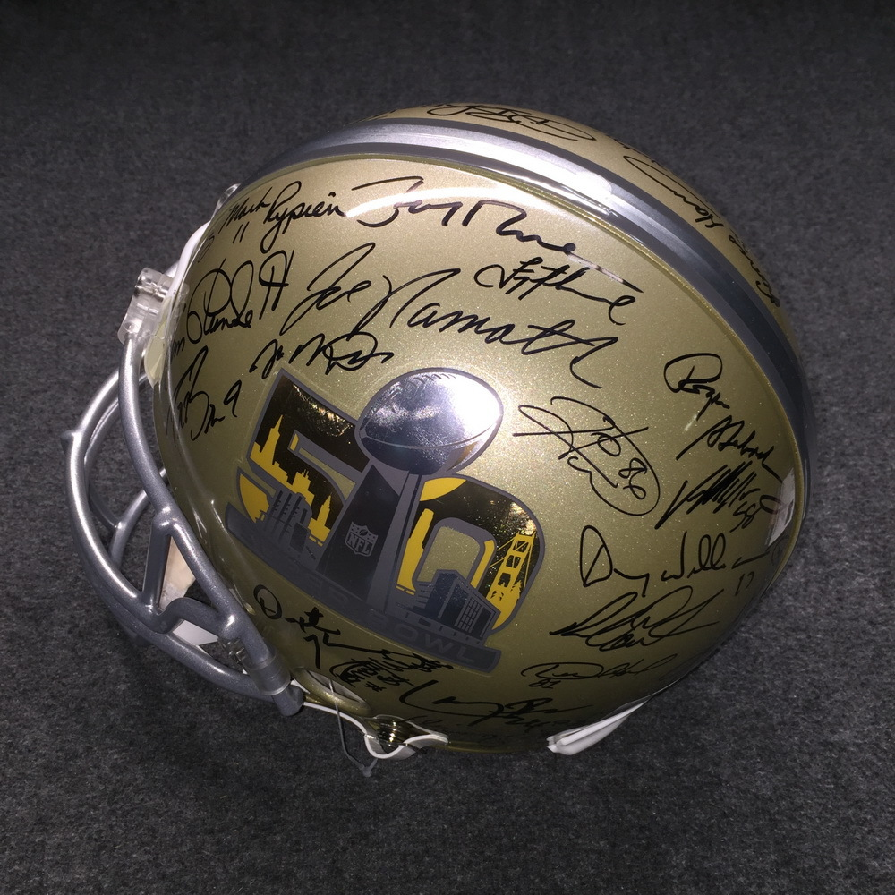 Disaster Relief - SB50 multi signed proline helmet signed several former SB MVP's (Includes Tom Brady, Peyton Manning, Aaron Rodgers, Joe Namath, Terry Bradshaw, Joe Montana, Jerry Rice, Drew Brees, Emmitt Smith.. does not include Bart Starr)