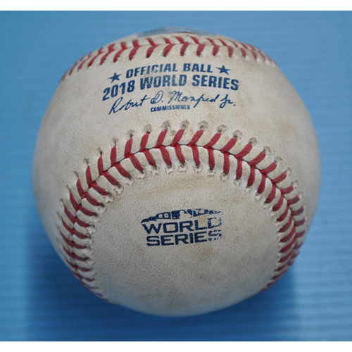 Photo of Game-Used Baseball - 2018 World Series - Boston Red Sox at Los Angeles Dodgers - Pitcher - Clayton Kershaw, Batter - Xander Bogaerts - Ball In Dirt - Top 4 - Game 5 - 10/28/2018