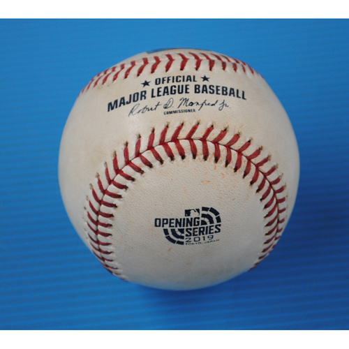 Photo of Game-Used Baseball - 2019 Japan Series - 3/21/2019 - Seattle Mariners vs. Oakland Athletics - Top 7 - Pitcher: Joakim Soria, Batter: Mitch Haniger - Hit by Pitch