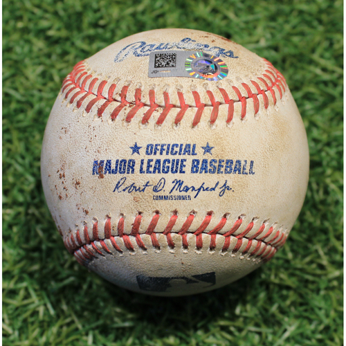 Photo of Game-Used Baseball: Nomar Mazara 537th Career Hit (CWS @ KC 9/4/20)