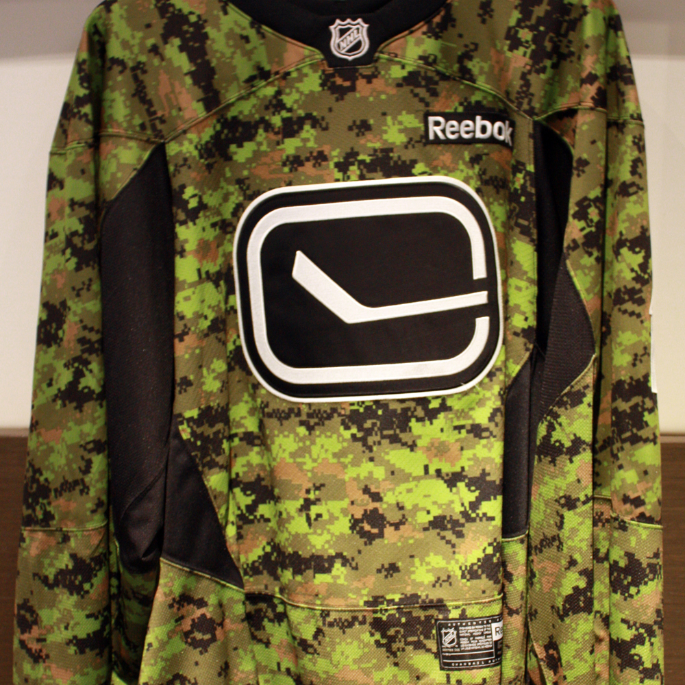 68fad4764ac Roberto Luongo Autographed Warm-up Worn Camouflage Jersey - NHL Auctions
