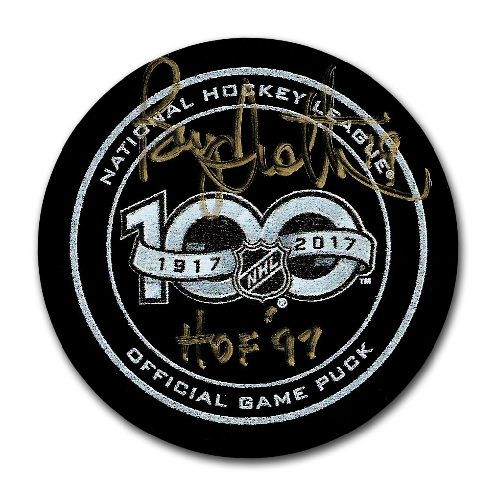 Bryan Trottier Autographed NHL 100th Anniversary Official Game Puck w/HOF 97 Inscription