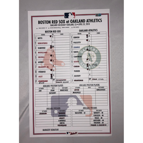 Photo of Red Sox vs Athletics April 20, 2018 Game-Used Lineup Card - Red Sox Win 7 to 3