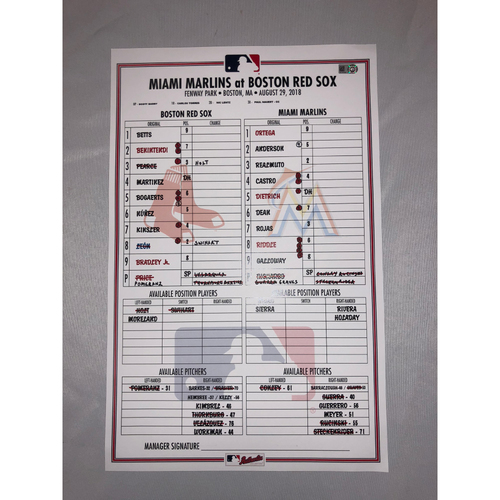 Photo of Marlins at Red Sox - August 29, 2018 Game-Used Lineup Card - Red Sox Win 14 to 6