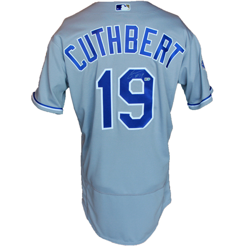 Photo of Autographed Gray World Series Jersey: Cheslor Cuthbert