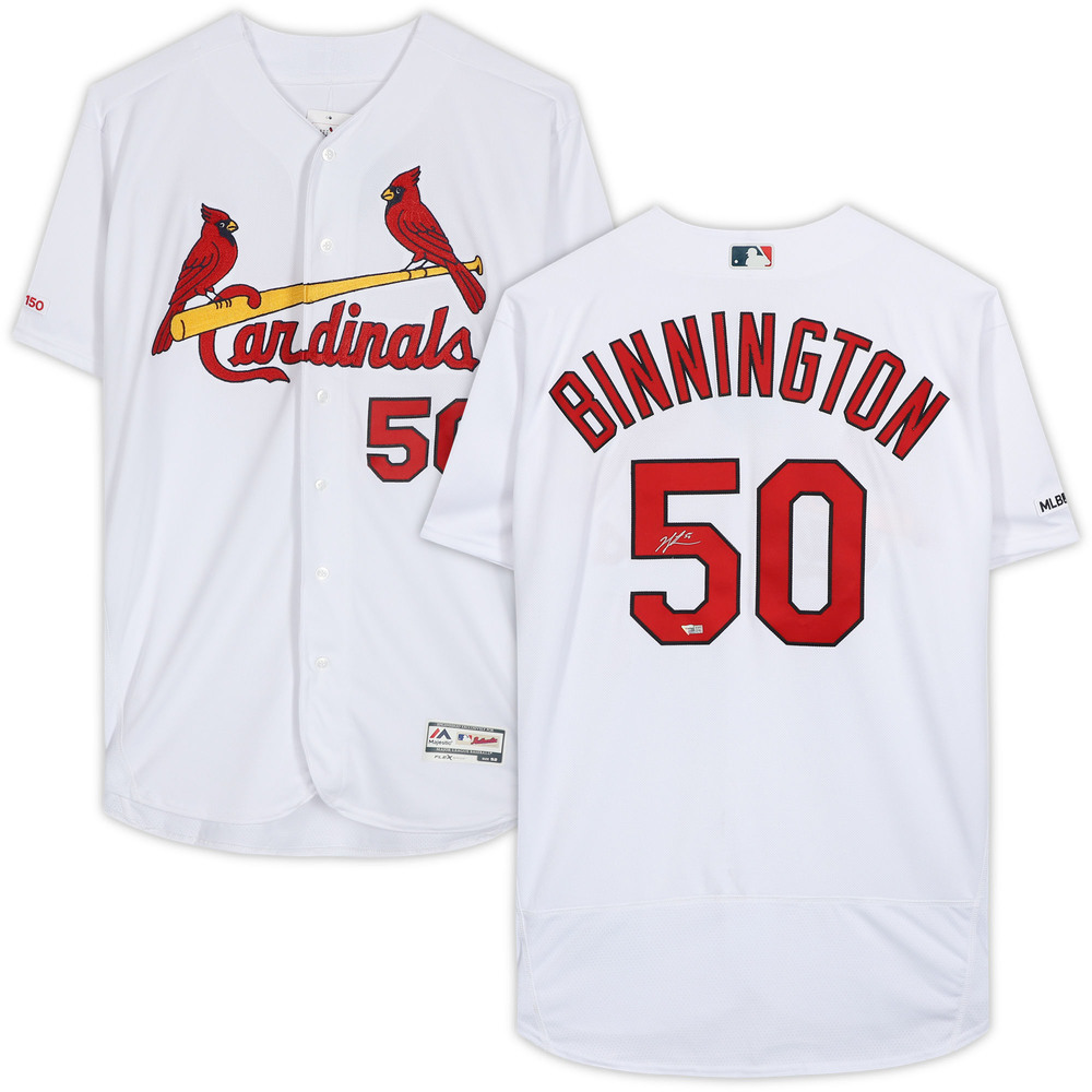 Jordan Binnington St. Louis Blues Autographed St. Louis Cardinals White Majestic Authentic Jersey