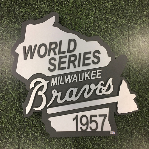 "Photo of Milwaukee Brewers Team-Issued Metal Sign - Previously Posted Outside Miller Park's ""1957 Party Suite"""