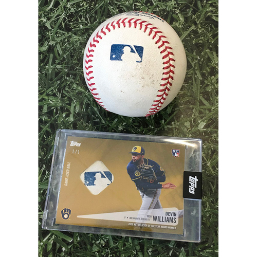 Photo of Game-Used Baseball STL@MIL 09/16/20 (Game 2 of Doubleheader) - Devin Williams - Paul Goldschmidt: Strikeout (Devin Williams Topps Relic Card Commemorating 2020 National League Reliever of the Year Season - Limited Edition # 1 / 1)