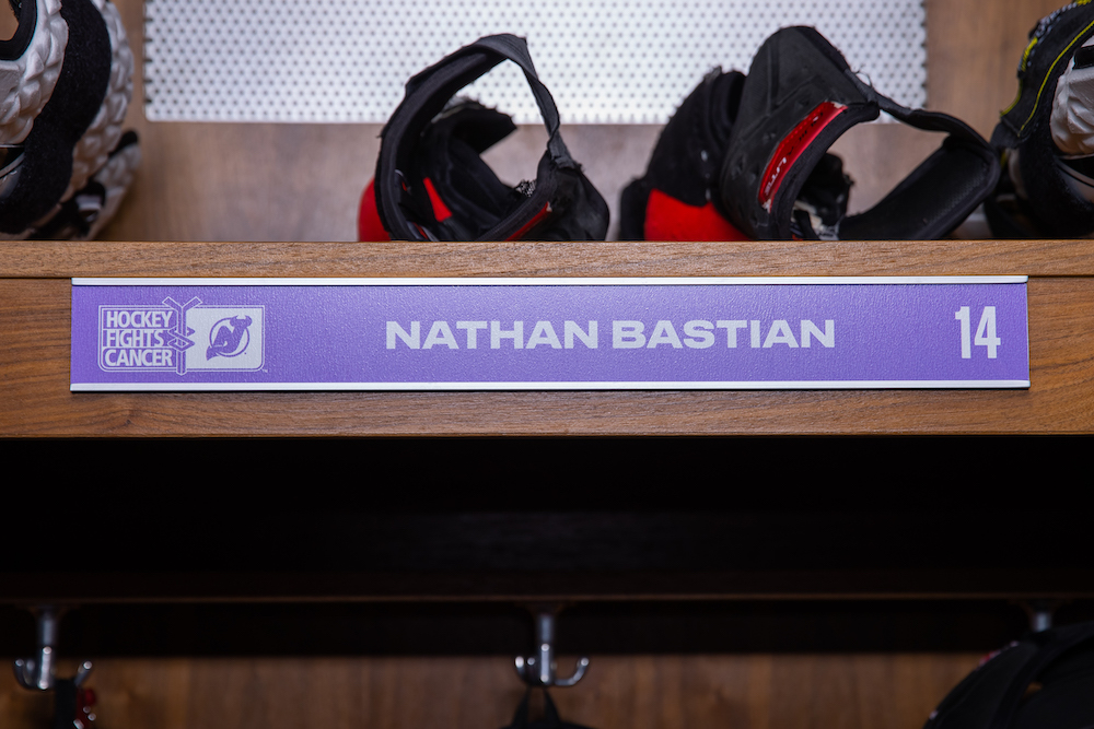 Nathan Bastian Autographed 2020-21 Hockey Fights Cancer Locker Room Nameplate - New Jersey Devils