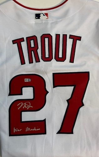 """Photo of Mike Trout Autographed """"War Machine"""" Los Angeles Angels Authentic Home Jersey"""