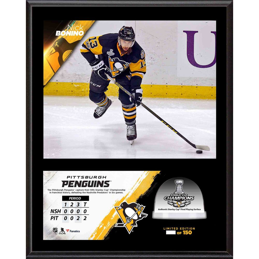 Nick Bonino Penguins 2017 Stanley Cup Champions 12'' x 15'' Sublimated Plaque with Game-Used Ice from the Stanley Cup Final - #1 of a L.E. of 100