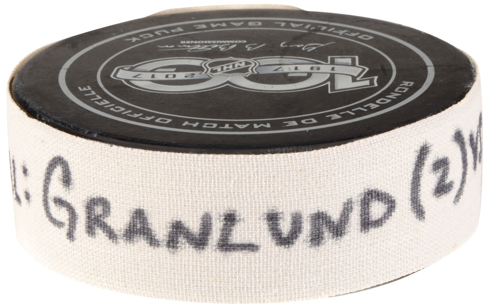 Markus Granlund Vancouver Canucks Game-Used Goal Puck from September 21, 2017 vs. Los Angeles Kings in Shanghai, China