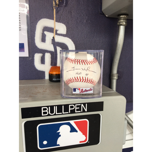 Photo of Trevor Hoffman Autographed Baseball HOF 18 Inscription