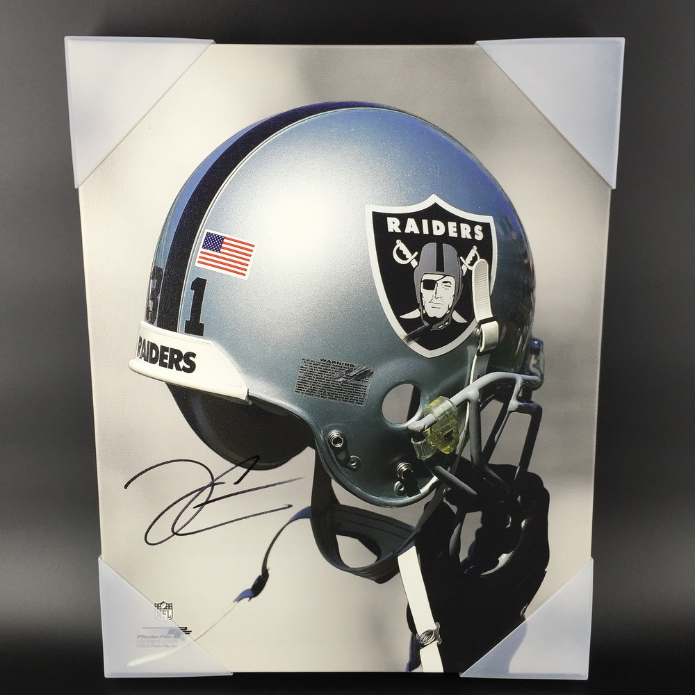 NFL - RAIDERS DEREK CARR SIGNED 16X20 RAIDERS HELMET LOGO CANVAS PRINT