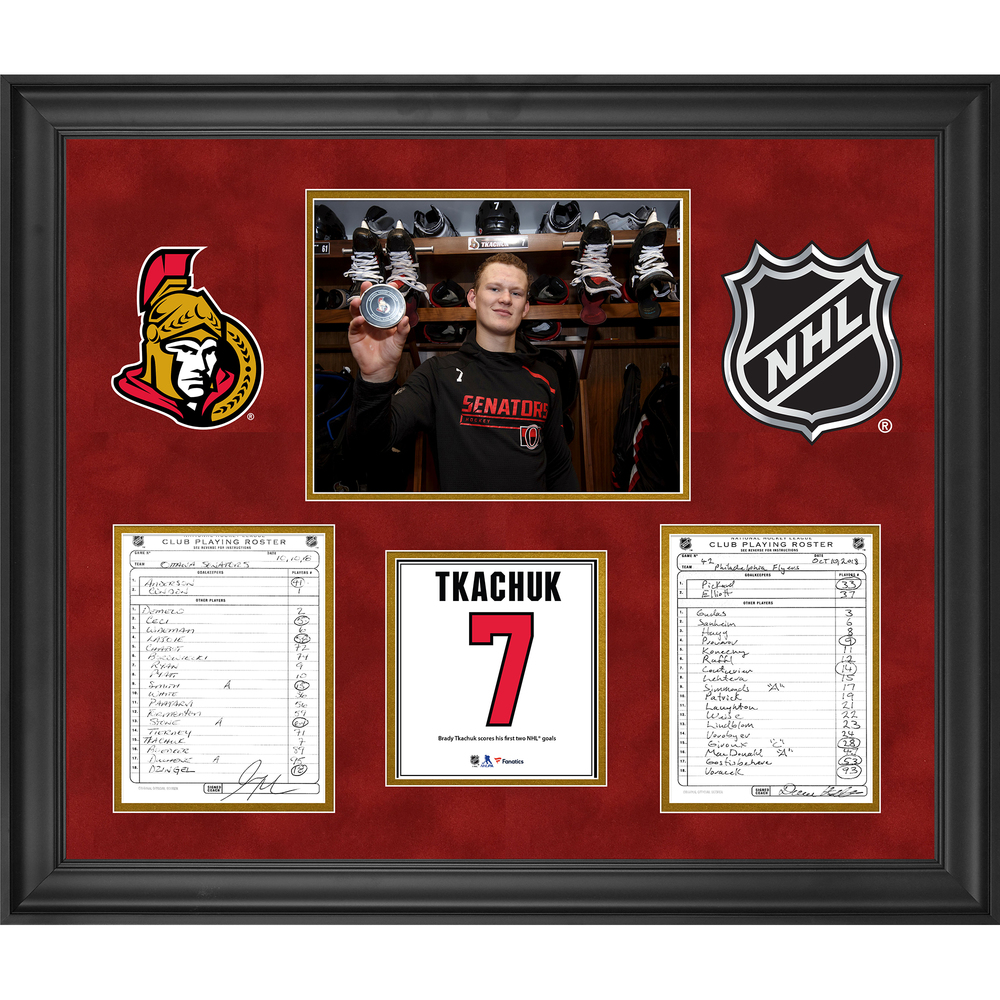 Ottawa Senators Framed Original Line-Up Cards from October 10, 2018 vs. Philadelphia Flyers - Brady Tkachuk First NHL Goal