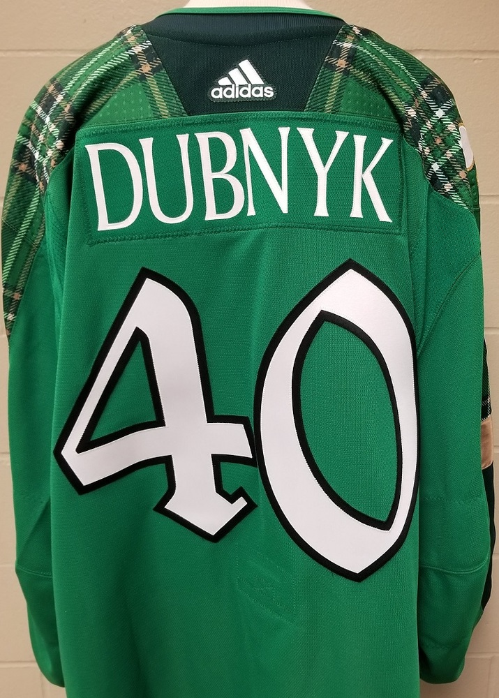Devan DubnykMinnesota Wild 2019 St. Patty's Day Warm-Up Jersey