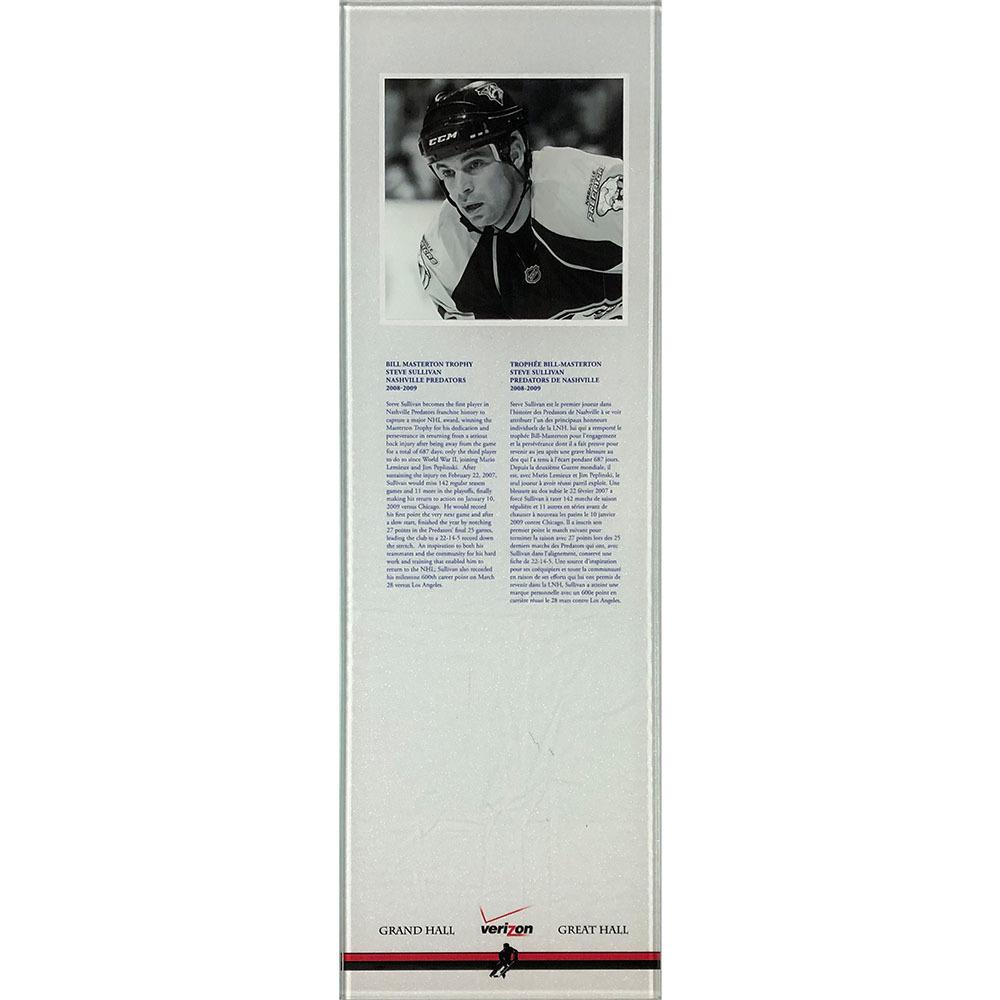 Steve Sullivan 2008-09 Masterton Trophy Plexiglass Plaque - Once on Display in the HOF's Great Hall
