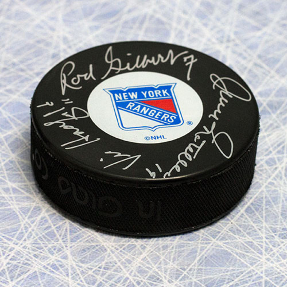Rod Gilbert - Jean Ratelle & Vic Hadfield Signed New York Rangers GAG Line Puck