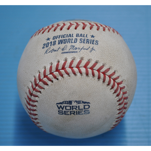Photo of Game-Used Baseball - 2018 World Series - Boston Red Sox at Los Angeles Dodgers - Pitcher - Nathan Eovaldi, Batter - Manny Machado/Cody Bellinger - Flyout to LF/Foul - Bottom 13 - Game 3 - 10/26/2018