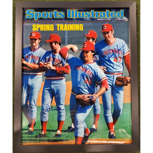 Framed Big Red Machine Era Pitchers on the Cover of Sports Illustrated Autographed