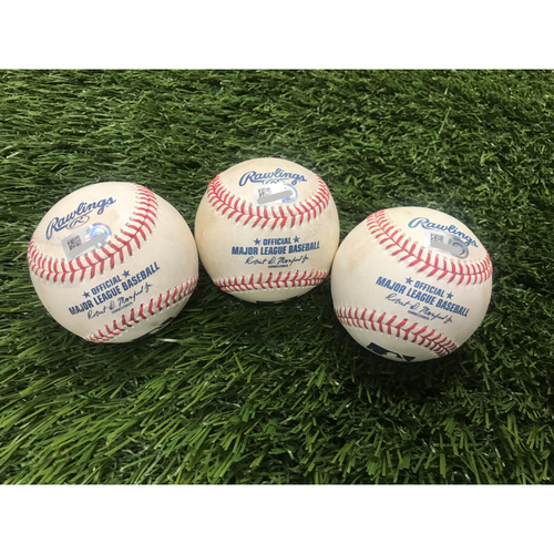 Photo of Pat Valaika, Pedro Severino, and Anthony Santander Home Run Baseballs - 8/8/2020
