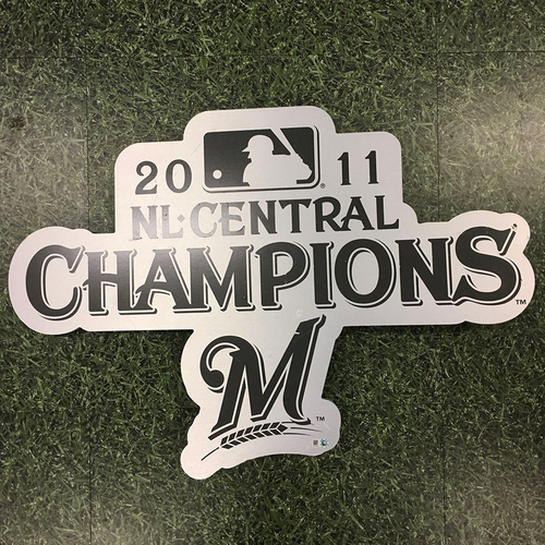 "Photo of Milwaukee Brewers Team-Issued Metal Sign - Previously Posted Outside Miller Park's ""2011 Party Suite"""