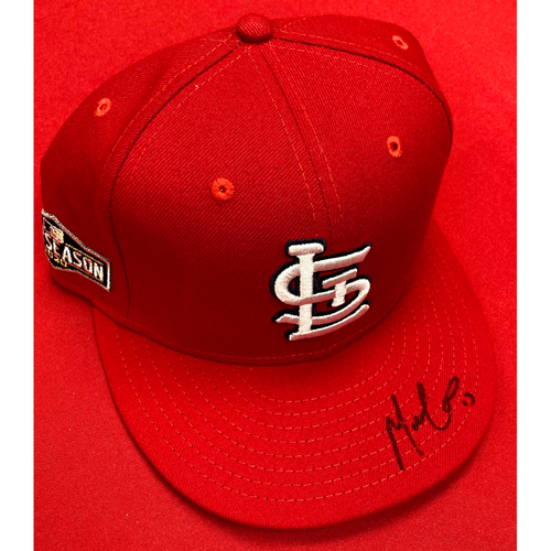 Photo of Matt Carpenter Autographed Team Issued Home 2020 Postseason Cap (Size 7 3/8)