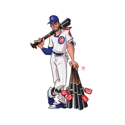 """Photo of Limited Edition Kev Roche """"Super-Hero"""" Prints -- Autographed by Kris Bryant"""