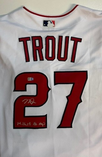 """Photo of Mike Trout Autographed """"14,16,19 AL MVP"""" Authentic Los Angeles Angels Home Jersey"""