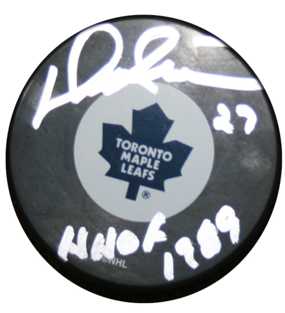 Darryl Sittler - Signed & Inscribed Toronto Maple Leafs HHOF Puck - Inscribed